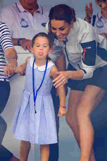 Princess Charlotte and Catherine having fun together after the inaugural King's Cup regatta hosted by the Duke and Duchess of Cambridge on August 08, 2019