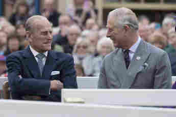 Prince Philip and Prince Charles on a visit to Poundbury on October 27, 2016