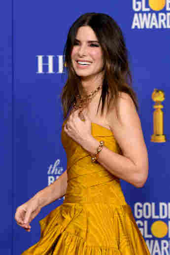 Sandra Bullock poses in the press room during the 77th Annual Golden Globe Awards, January 5, 2020.