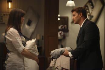 "David Boreanaz and Emily Deschanel in the series, ""Bones""."