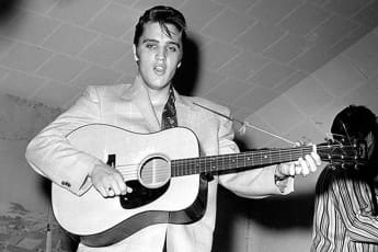 Elvis Presley performing.