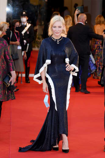 """Jury President Cate Blanchett walks the red carpet ahead of the Opening Ceremony and the """"Lacci"""" red carpet during the 77th Venice Film Festival."""
