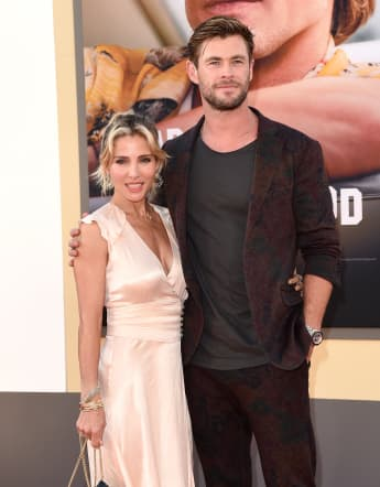 """Elsa Pataky and Chris Hemsworth attend Sony Pictures' """"Once Upon a Time ... in Hollywood"""" Los Angeles Premiere on July 22, 2019 in Hollywood, California."""