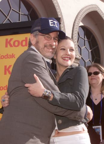 "Steven Spielberg and Drew Barrymore at the 20th anniversary premiere of ""E.T. The Extra-Terrestrial"" at the Shrine Auditorium in Los Angeles, Ca. Saturday, March 16, 2002"