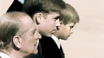Prince Philip, Prince William and Prince Harry during Princess Diana's funeral.