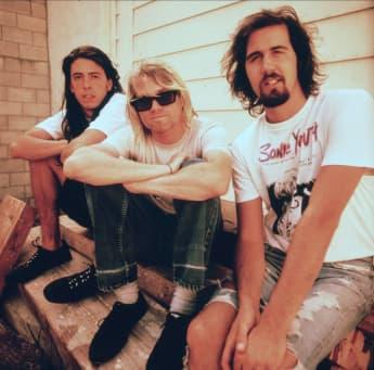 David Grohl, Kurt Cobain y Kris Novoselik Nirvana 15 de abril de 1987