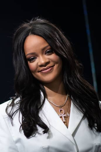 Rihanna poses during a promotional event of her brand Fenty in Paris.