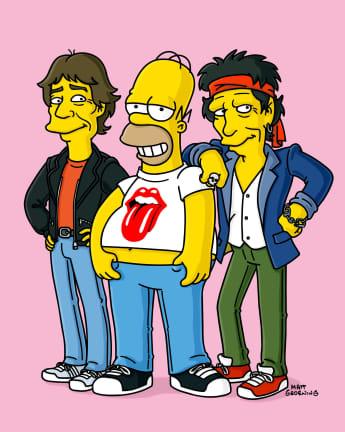 Homer Simpson con Keith Richards y Mick Jagger en Los Simpson.
