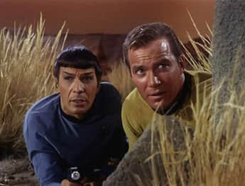 """Captain Kirk"" and ""Mr. Spock"" in 'Star Trek'"