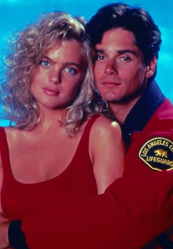 Erika Eleniak and Billy Warlock in 'Baywatch' 1991