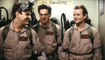 Dan Aykroyd, Harold Ramis and Bill Murray in Ghostbusters in 1984.