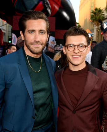 Jake Gyllenhaal and Tom Holland at the Spider-Man: Far From Home premiere in Hollywood, California.