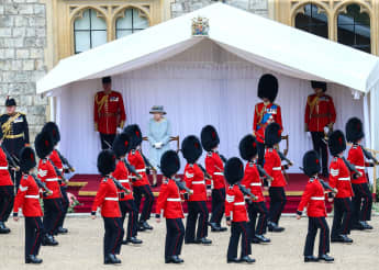 Queen Elizabeth II at the Trooping The Color Parade 2021 in the courtyard of WIndsor Castle
