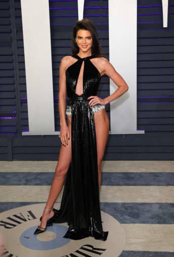 Kendall Jenner arrives for the 2019 Vanity Fair Oscar Party at the Wallis Annenberg Center for the Performing Arts on February 24, 2019