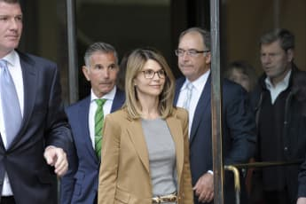 Lori Loughlin exits the courthouse in Boston on April 3rd.