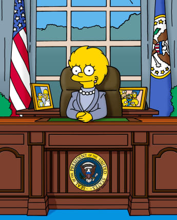 The Simpsons Predicting The Future Kamala Harris suit Lisa President Trump 2021
