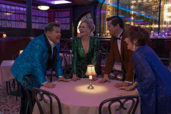 James Corden, Nicole Kidman, Andrew Rannells and Meryl Streep in a scene from the movie 'The Prom'