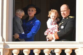 Prince Jacques, Princess Charlène, Princess Gabriella and Prince Albert II.