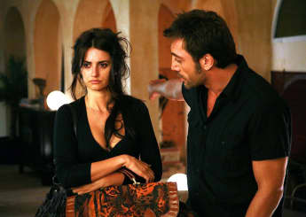 Penélope Cruz and Javier Barder in production still from 'Vicki Cristina Barcelona' 2008.