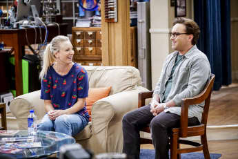 "Kaley Cuoco as ""Penny"" and Johnny Galecki as ""Leonard"" in The Big Bang Theory."