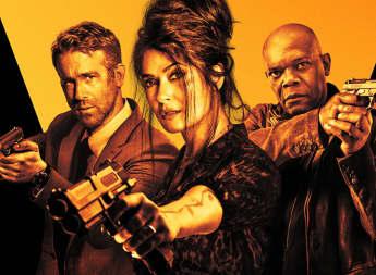 Ryan Reynolds, Salma Hayek, Samuel L. Jackson en una imagen promocional de 'Hitman's Wife's Bodyguard'