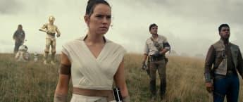 Daisy Ridley, Oscar Isaac and John Boyega in The Rise of Skywalker.