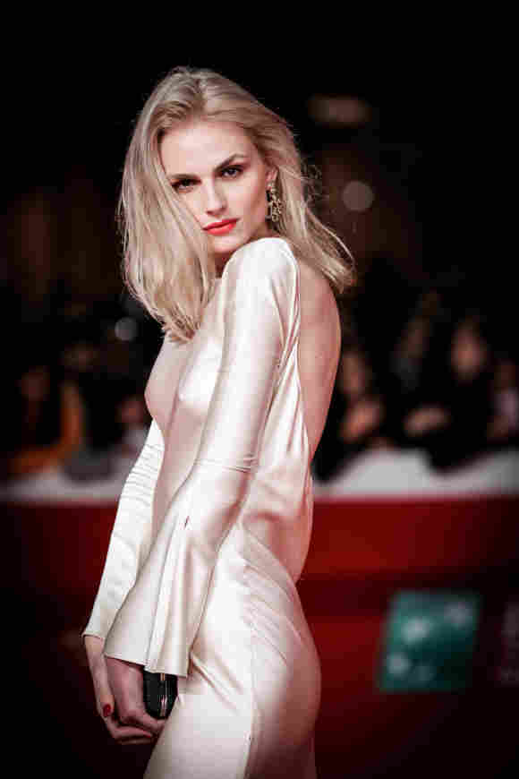Andreja Pejic walks the red carpet ahead of the 'The Girl In The Spider's Web' screening during the 13th Rome Film Fest.