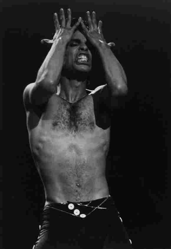 American singer-songwriter Prince performing on stage, 1986