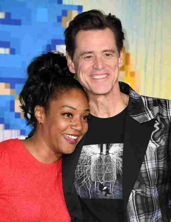 """Jim Carrey and Tiffany Haddish attend a special screening of """"Sonic the Hedgehog"""" at the Regency Village Theatre in Westwood, California, on February 12, 2020"""