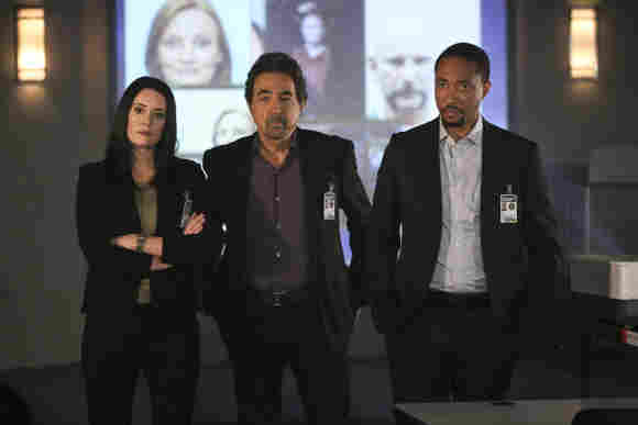 "Paget Brewster, Joe Mantegna and Damon Gupton in ""Criminal Minds"""