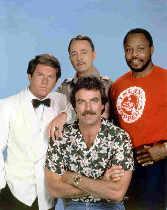 """Larry Manetti, Tom Selleck, John Hillerman and Roger E. Mosley in """"Magnum, P.I."""""""
