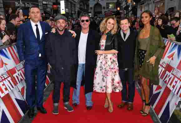 David Williams, Ant McPartlin, Simon Cowell, Amanda Holden, Declan Donnelly and Alesha Dixon arriving at the 'Britains Got Talent' London Auditions 2018.