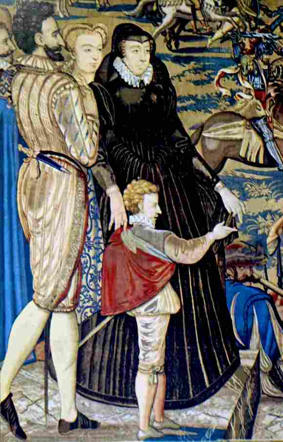 Tapiz de Catalina de Medici y su esposo Enrique II