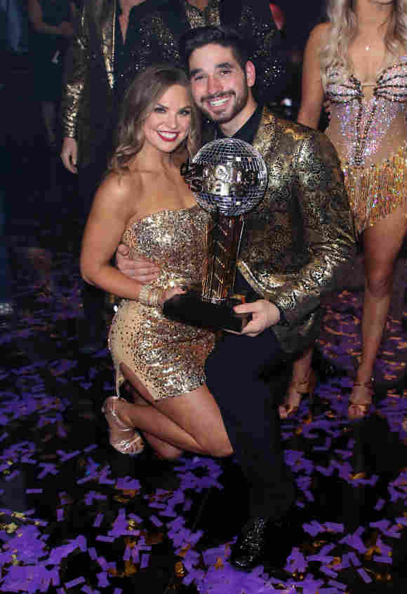 "Hannah Brown and Alan Bersten pose at ""Dancing with the Stars"" Season 28 Finale at CBS Television City on November 25, 2019"