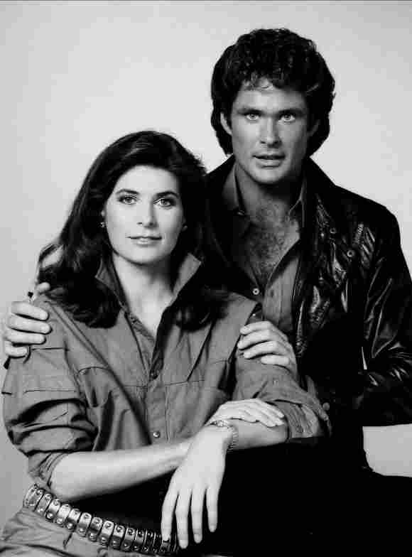 """Patricia McPherson and David Hasselhoff in as """"Bonnie"""" and """"Michael"""" in 'Knight Rider'."""