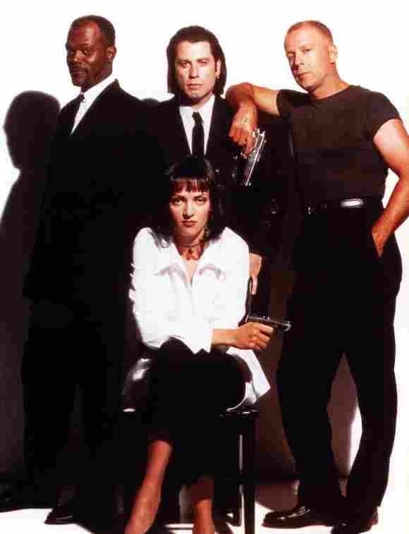 Samuel L. Jackson, Uma Thurman, John Travolta and Bruce Willis in Pulp Fiction