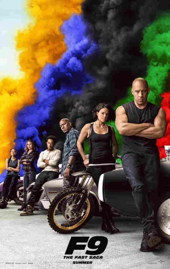 Nathalie Emmanuel, Jordana Brewster, Ludacris, Tyrese Gibson, Michelle Rodriguez y Vin Diesel en un póster de 'Rápidos y furiosos 9'