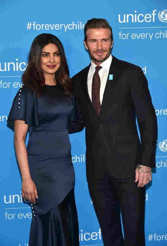UNICEF India National Ambassador Priyanka Chopra and UNICEF Goodwill Ambassador David Beckham attend UNICEF's 70th Anniversary Event at United Nations Headquarters on December 12, 2016 in New York City