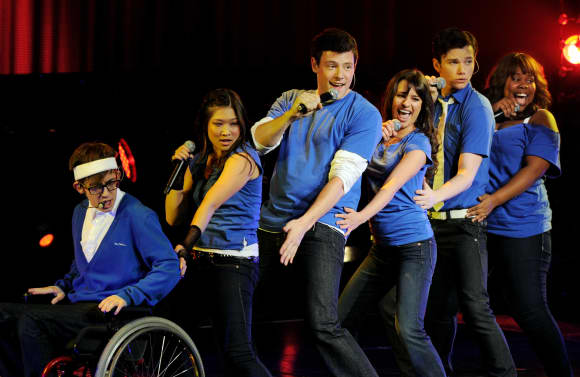 Kevin McHale, Jenna Ushkowitz, Cory Monteith, Lea Michele, Chris Colfer y Amber Riley