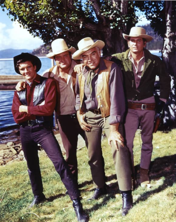 "Bonanza: ""Jamie"" actor Mitch Vogel with Dan Blocker, Lorne Greene, Michael Landon"