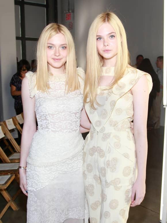 Elle and Dakota Fanning attending Spring 2012 Mercedes-Benz Fashion Week