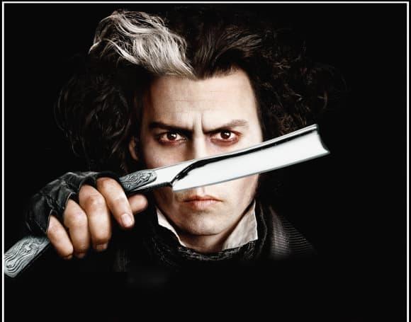 Johnny Depp en 'Sweeney Todd, el barbero demoníaco de la calle Fleet'.