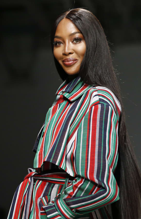 Naomi Campbell walks the runway during the Kenneth Ize show as part of the Paris Fashion Week Womenswear Fall/Winter 2020