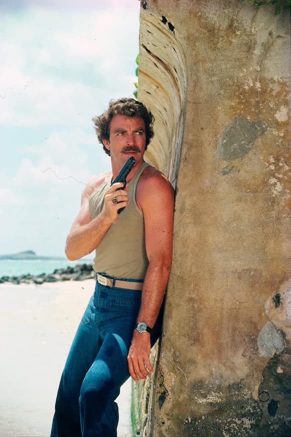 "Tom Selleck as ""Thomas Sullivan Magnum IV"" in ""Magnum, P.I."""