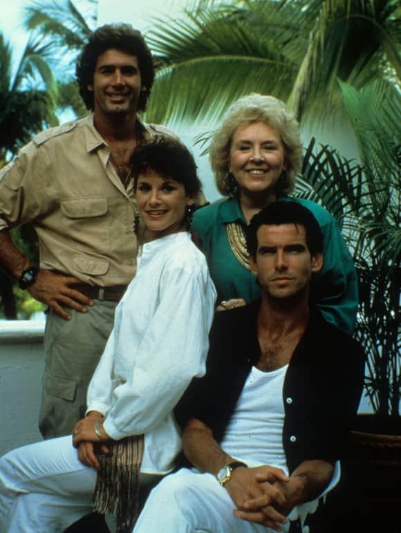 Remington Steele Cast James Read, Doris Roberts, Stephanie Zimbalist and Pierce Brosnan