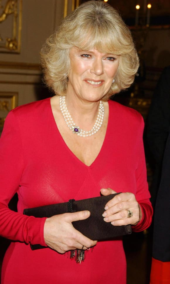Camilla Parker Bowles arrives with Prince Charles for a party at Windsor Castle after announcing their engagement earlier 10 February, 2005.