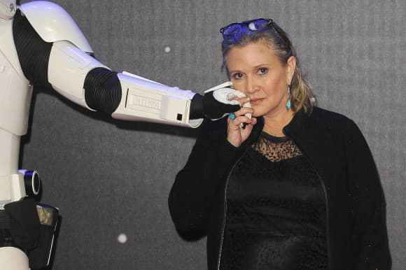 Carrie Fisher attending the European Premiere of 'Star Wars: The Force Awakens' in London.
