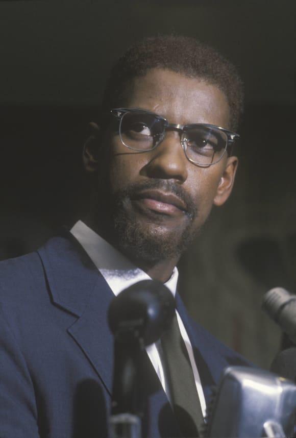 Denzel Washington in the 1992 film 'Malcolm X'.