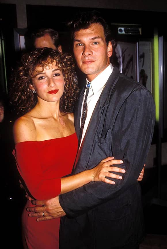 "Jennifer Grey and Patrick Swayze at the premiere of ""Dirty Dancing"" in 1987"