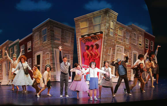 Actors perform during the media night performance of the Broadway musical Hairspray at the Luxor Hotel & Casino, February 13, 2006.